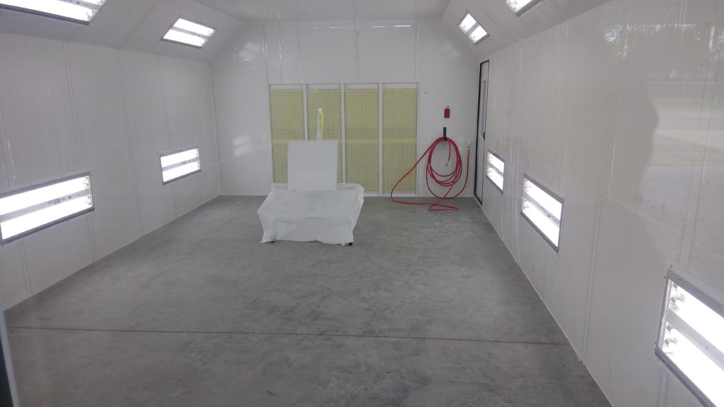 inside paint booth